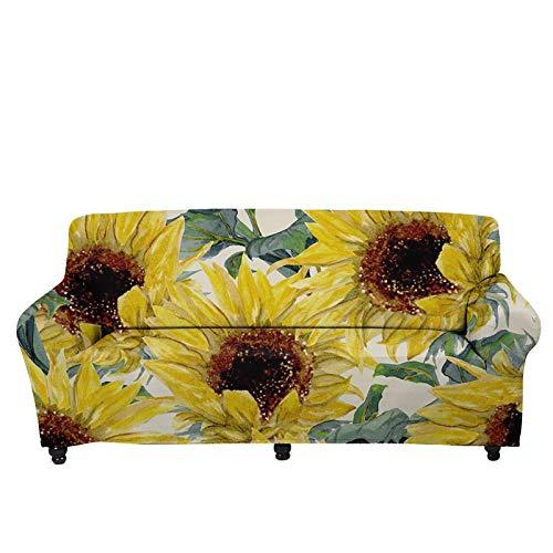 JBNJV Funda de sofá elástica con Estampado de Girasol Vintage, Fundas de Tela Antideslizantes para sofá seccionales, Fundas de cojín, Protector de Muebles