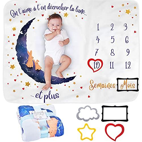 Couverture Etape Bébé en FRANÇAIS | Couverture Mensuelle pour Bébé Unisexe | Couverture Personnalisée Babyshower | Thème Lune | Douce et Épaisse | Couverture Photo | Suivez Sa Croissance