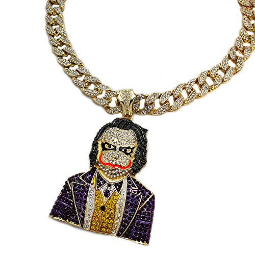 BLINGFACTORY Hip Hop Iced Large Joker w/ 18' Full Iced Miami Cuban Choker Chain Necklace Set