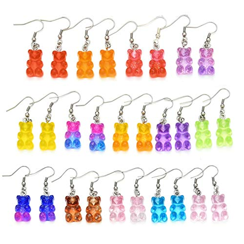 Rainbow Rubber Candy Mini Gummy Bear Drop Earrings Set Candy Minimalist Soft Cute Colorful Jelly Resin Cartoon Bear Pendant Earrings for Women Girl Birthday Party Gifts Jewelry-14pairs