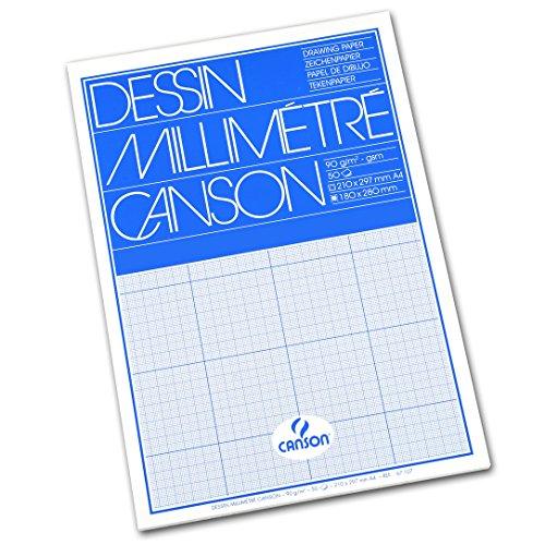 Canson Dessin Millimétré Papier à dessin A4 21 x 29,7 cm Bleu