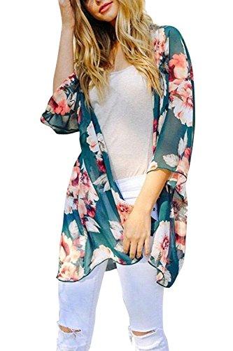 Walant Retro - Chaleco de playa Kimono para mujer, de muselina de verano, con media manga, estilo floral, vestido sexy, bikini Vert 1 Talla única