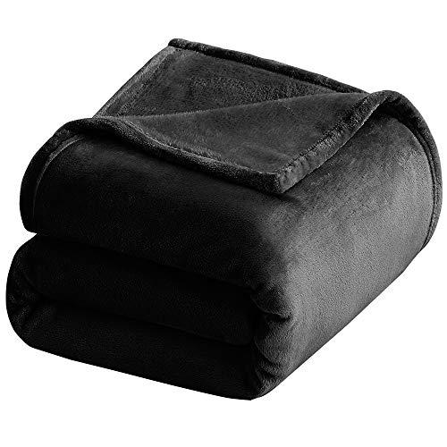 Couvertures MultiWare en fausse fourrure de vison pour canapé-lit, Polyester, noir, 200 x 180cm