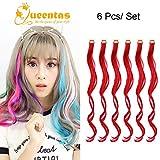 Queentas Rouge Clip Frisé Dans Les Extensions De Cheveux Longs Postiches Points Forts Colorés pour Cosplay Halloween (6Pcs x 20 ')