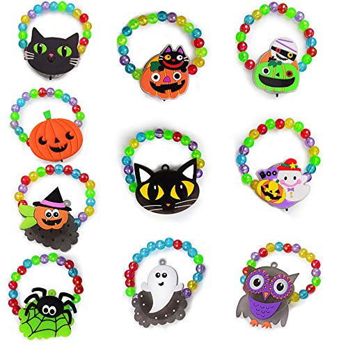 BUDI Halloween LED Bracelets 10 Pack Halloween Party Favors for Kids Halloween Trick Or Treat Goodies Beaded Flashing Bracelets Light Up Bracelets Glow in the Dark Party Favors
