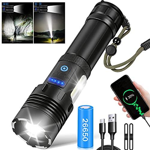 Taschenlampe LED 10000 Lumen, LED Taschenlampe Extrem Hell mit COB Arbeitsleuchte Taschenlampe Aufladbar USB Wasserdicht 7 Modi Zoombar Taktische Taschenlampe für Camping Wandern Notfälle(26650 Akku)