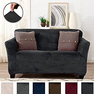 Great Bay Home Modern Velvet Plush Strapless Slipcover. Form Fit Stretch, Stylish Furniture Cover/Protector. Gale Collection by Brand. (Loveseat, Dark Grey)