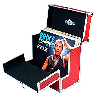 "Retro Musique Aluminium 12"" Vinyl Record LP Storage Case with unique folding front flap for better access to your LPs (Red)"