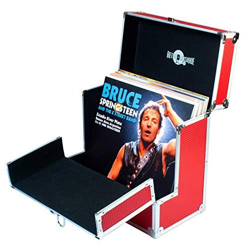 Retro Musique - Caja de almacenamiento para discos de vinilo de 12 pulgadas con solapa frontal plegable para un mejor acceso a tus LPs, rosa dorado … (Red)