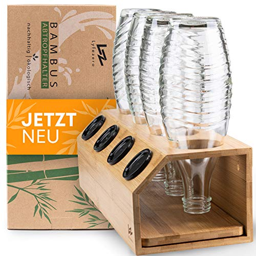 Lyfezero SodaStream Flaschenhalter 4er aus Bambus - Abtropfhalter für Soda Stream - Flaschenständer mit Abtropfwanne - Pflegeleichtes Abtropfgestell - Flaschentrockner für Glas und Plastik Flaschen