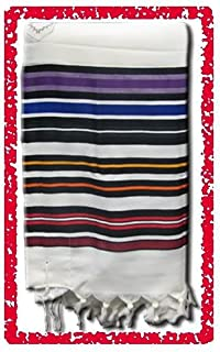 Multi Color Bnei Ohr 100% Wool Tallit Size 42 X 64