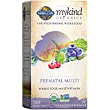 Garden of Life Prenatal Vitamins - mykind Organics Prenatal Multi - 180 Tablets, Vegan Whole Food Multivitamin, Folate not Folic Acid & Stomach Soothing Blend, Organic Prenatals Supplements for Women