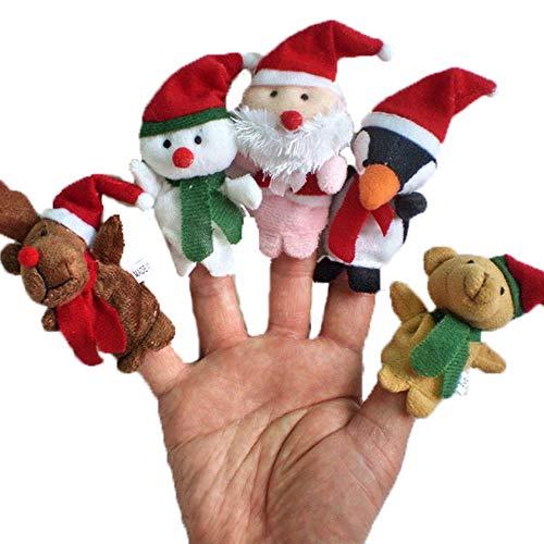 U/K 5pcs Fingerpuppen Weihnachtsgeschichte Zeit Weihnachtsmann und Freunde Fingerpuppen Umweltfreundlich und praktischSicherheit