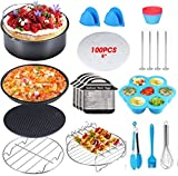 Air Fryer Accessories for Baking Basket Pizza Plate Grill Pot Kitchen Cooking Tool,8in Deep Fryer Accessories