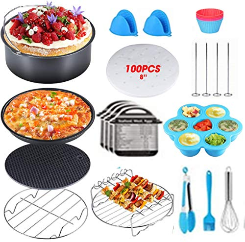 8 Inch Air Fryer Accessories ,Accessories for Air Fryer Fits all 5.8Qt, 6Qt Air Fryer ,Nonstick Coating Dishwasher Safe,with Cookbook for Baking Basket Pizza Plate Grill Pot Kitchen Cooking Tool