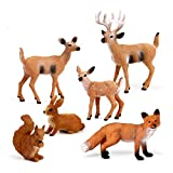 Mini Tudou 6 Pcs Woodland Animals Figure Toys,Handmade Creatures Figurines Forest Toys Include Deer , Fox, Rabbit, Squirrel Treasures For Ages 3 4 5 Boys and Girls