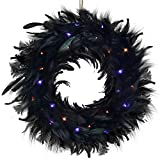 Lulu Home Halloween Black Wreath, Black Feathered Wreath with 40 LEDs Orange and Purple Lights, 8 Modes Battery Operated Gothic Creepy Wreath for Front Door Wall Fireplace Halloween Decoration
