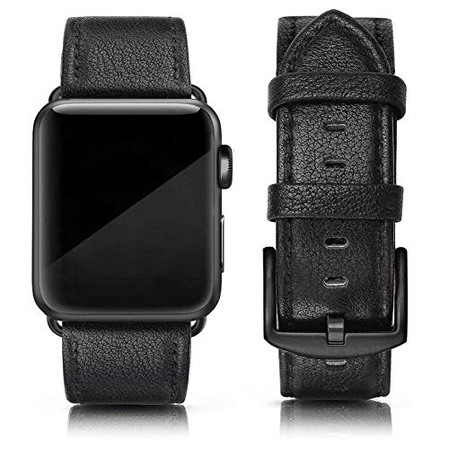SWEES Leather Band Compatible for iWatch 42mm 44mm, Genuine Leather Replacement Wristband Strap Compatible iWatch Series 6 5 4 3 2 1 SE Sports & Edition Men, Lichee Black