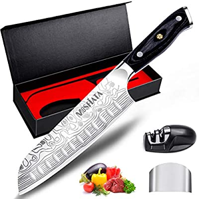 "Santoku Knife - MOSFiATA 7"" Super Sharp Professional Kitchen Cooking Knife with Finger Guard and Knife Sharpener, German High Carbon Stainless Steel 4116 with Micarta Handle and Gift Box"