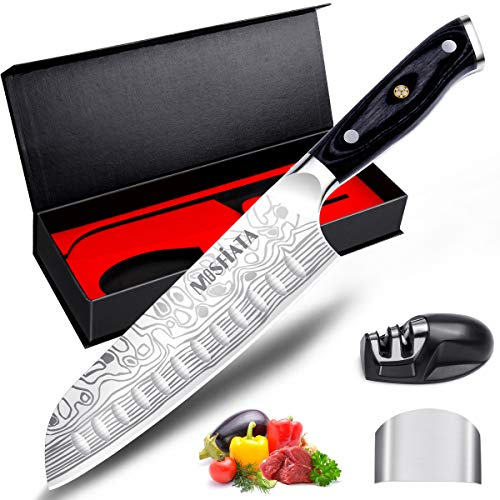 MOSFiATA 7' Santoku Knife with Finger Guard and Knife Sharpener, German High Carbon Stainless Steel EN.4116 Kitchen Cooking Knife with Micarta Handle and Gift Box (7')