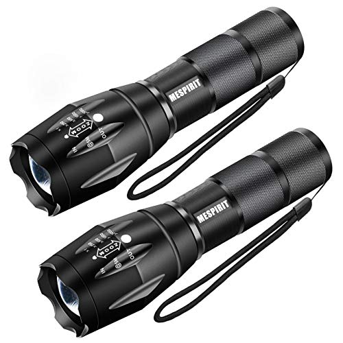 FMU LED Tactical Flashlight S1000 [2 PACK] - High Lumen Portable Water Resistant Torch Light, Zoomable, 5 Modes, Handheld Light - Best Camping, Outdoor, Emergency, Everyday Flashlights