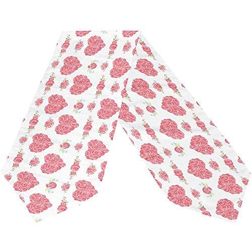 Happy Valentines Day rood roze hart lang tafelloper spring rozen bloemen rechthoekige tafel klittenbandrunner