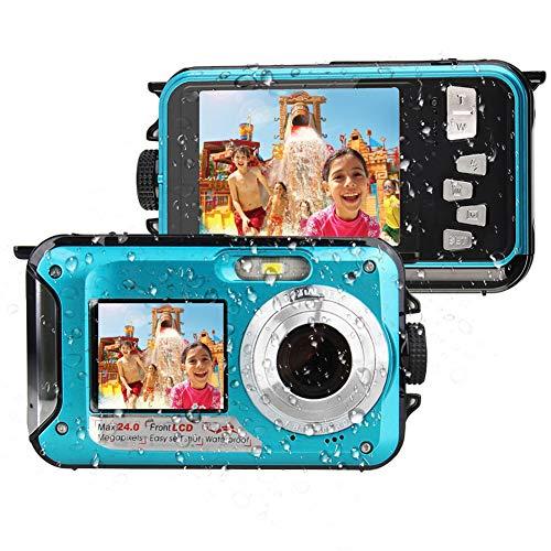Camara Acuatica Sumergible Full HD 1080P Cámara a Prueba De Agua Grabadora De Video De 24 MP Selfie Pantalla Dual DV Grabación Camera De Fotos Acuatica De Agua para Snorkel