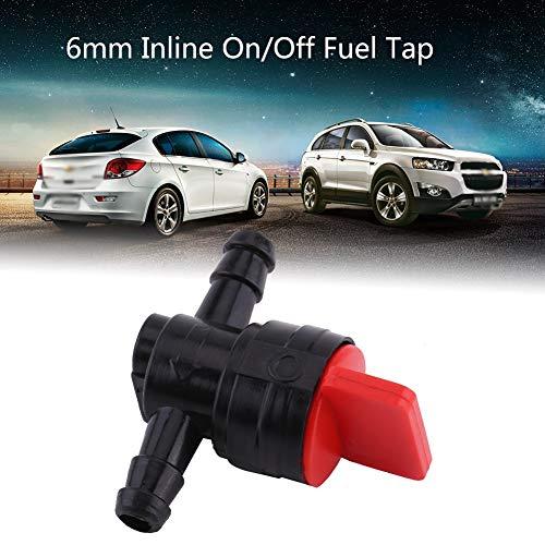 EVGATSAUTO Universal de plástico de 6 mm en línea de encendido/apagado del grifo de combustible apto para 1/4 de manguera de tubo de grifo de combustible