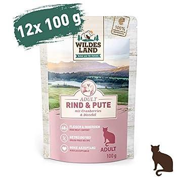 Wildes Land Nourriture humide pour chat - N° 1 - Bœuf et dinde - 12 x 100 g - Sans céréales - Extra de viande - Meilleure acceptation et tolérance.
