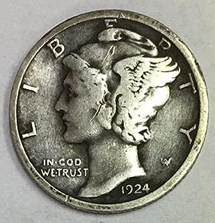 1924 D Mercury Dime 90% Silver 10c Fine