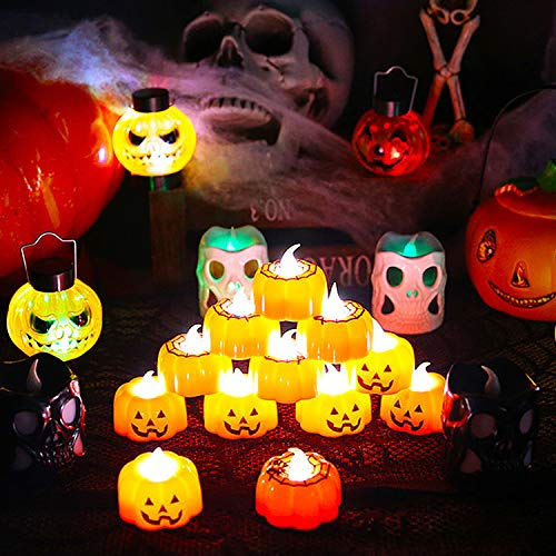COCOCITY Candele a LED per Halloween, 12 Pezzi Lanterna di Zucca Lampade a LED Decorazione Interni Esterno per Halloween Natale Pasqua (Motivo: Zucca, Ragno)
