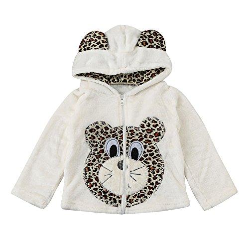 Hirolan Baby Schneeanzug Baby Winterjacke Mode Baby Säugling Kinder Jungen Mädchen Karikatur Tier Mit Kapuze Mantel Lange Hülse Tops Warm Mantel Kleider (110CM, Weiß)