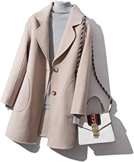 Winter Clothing for Women Twill Wool Coat Double Jersey Wool Coat Autumn and Winter Warm Jacket Medium Long Jacket Thick Suit Collar Ladies Coat (Color : Pink, Size : M)