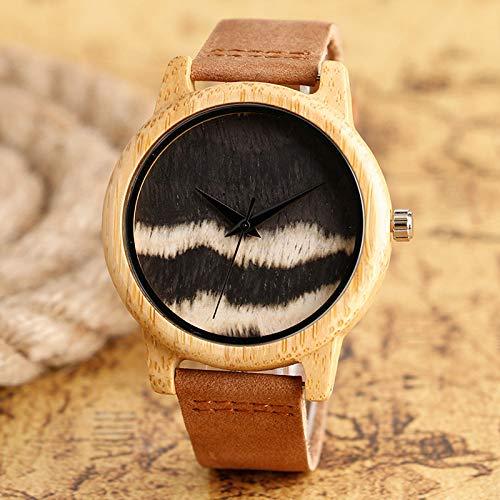 STEDMNY Holzuhr Weißes Zifferblatt Welle Bambus Holz Uhr Männer Kreative Natur Leichte Uhr Leder Armreif