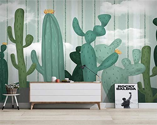 Papel de Parede Custom Hand-Painted Cactus Modern Minimalist Small Fresh Background Wallpaper Wall Papers Home Decor Speedcoming x1140-200x140cm/79'x 55'