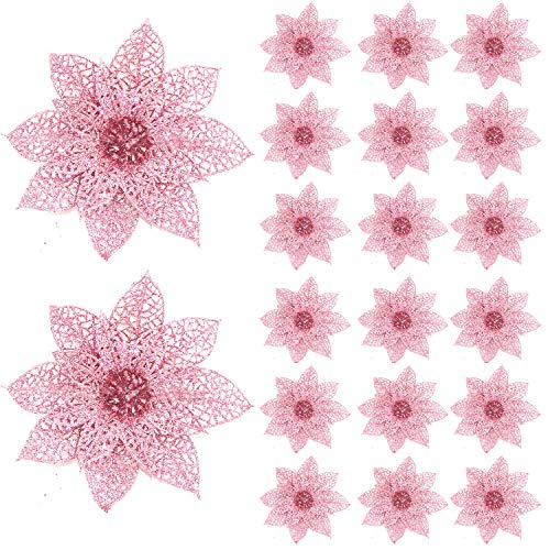 Worldoor 20 Pieces Glitter Christmas Tree Ornaments Artificial Wedding Christmas Poinsettia Flowers for Festival Decoration (Pink)