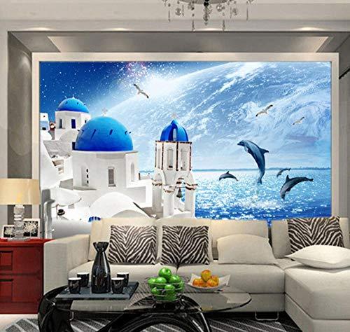 Suwhao Middellandse Zee Uitzicht Kasteel Fotobehang Springen Dolfijnen Woonkamer Slaapkamer Home Decor 3D Muur Muren 200x140cm