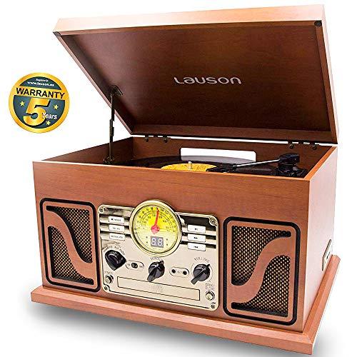 Lauson CL606 Vintage platenspeler 2 Geïntegreerde Stereoluidsprekers | Vinyl Speler met FM-Radio en Retro Muzieksysteem, CD-Speler, Cassettespeler en USB / MP3 | Bluetooth-Functie | 3 Snelheden