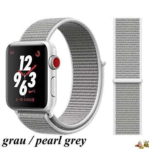 Tessuto Monster compatibile con Apple Watch Bracciale Sport Loop Grey Grigio 38 mm/40 mm