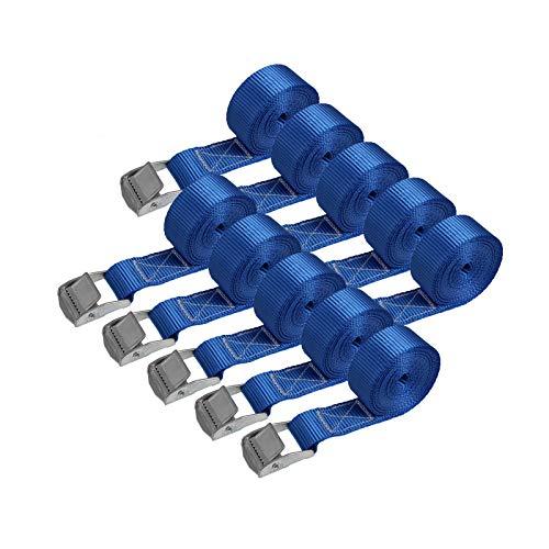 Correa de amarre cinturón de amarre con hebilla - azul - 2,5m 4m 6m - diferentes cantidades resistente a 250 kg DIN EN 12195-2, 10 piezas - 2.5 cm x 2.5 m