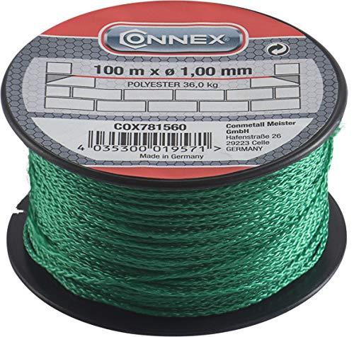 Connex Maurerschnur grün - 100 m Länge - Ø 1,0 mm - Polypropylen geflochten - Knotenfest - Reißfest & Belastbar - Auf Spule/Richtschnur/Bauschnur/Lotschnur/Pflasterschnur / COX781560