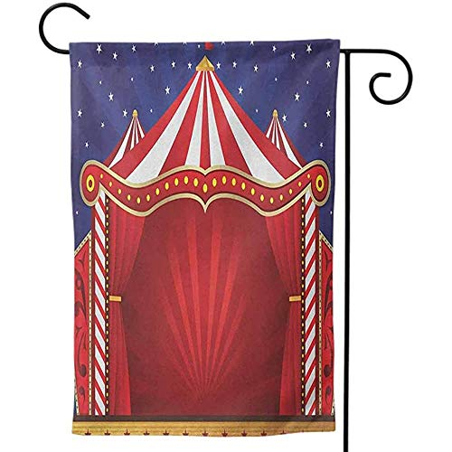 KL Decor Polyester Premium Assortiment Holiday Yard Flags Double Sided for Holiday Seasonal Circus A Circus Sign Style Baroque Big Top Enjoyment Theme Chapiteau Nightlife Retro Gold White Red