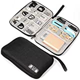 Electronics Organizer Bag Waterproof Carrying Pouch Travel Universal Cable Organizer Electronics Storage Bag Accessories Cases for Cord, Charger, Earphone, USB, SD Card (Black)