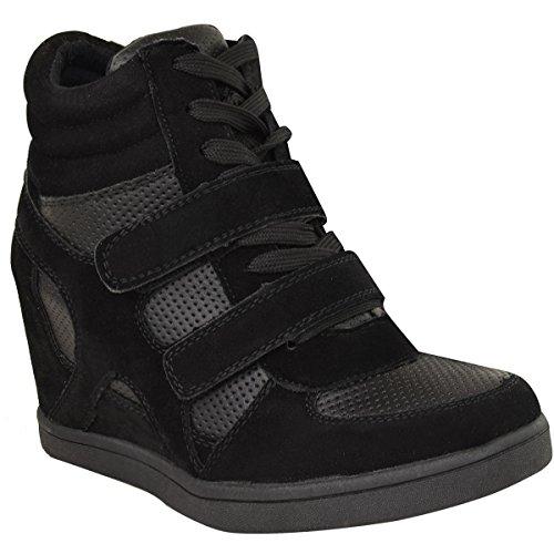 Fashion Thirsty Heelberry - Damen High-Top-Sneaker mit Keilabsatz - Schwarzes Veloursleder-Imitat - EUR 38