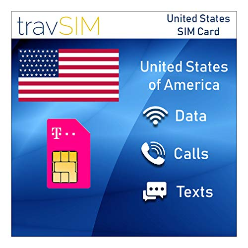travSIM T-Mobile Prepaid USA SIM Card - 50GB Mobile Internet Data, Unlimited Calls & Texts for The United States – Tethering Allowed – 4G LTE for 30 Days