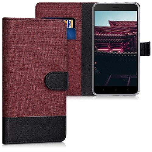 kwmobile Hülle kompatibel mit Xiaomi Redmi Note 4 / Note 4X - Kunstleder Wallet Case mit Kartenfächern Stand in Dunkelrot Schwarz