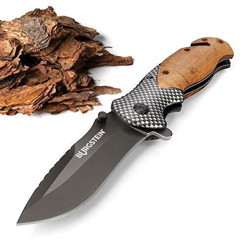 Burgstein® Outdoor Messer mit Holzgriff - Einhandmesser mit Extra Scharfer, Gehärteter Edelstahlklinge, 3-in-1 Taschenmesser, Klappmesser mit Gurtschneider & Glasbrecher