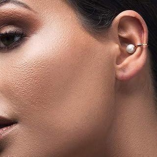 Aretes de perlas brazalete de oreja, rosa de oro oreja puño no perforar aretes perla pendiente no perforado aretes puño, brazalete de oído minimalista, pendiente earcuff