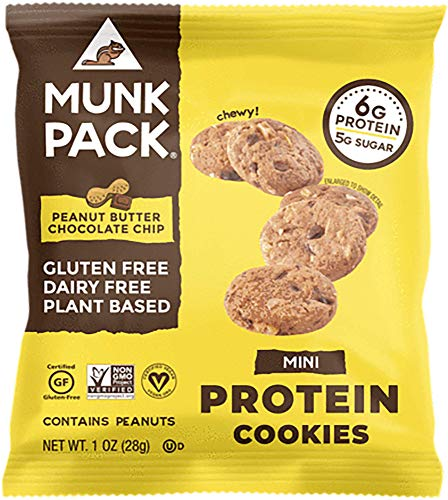 Munk Pack Mini Protein Cookies, Peanut Butter Chocolate Chip, 8 Pack, 6 Grams of Protein, Cookie Snack Pack, Vegan, Gluten Free, Dairy Free, Soy Free, Chewy