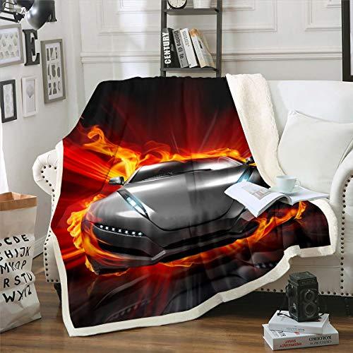 Rennsportwagen Couchdecke Extremsport Thema Kuscheldecke für Stuhl Sofa Couch Herren Cooles brennendes Auto Wohndecke Autosportwettbewerb Dekor Flanell Fleecedecke 150x200cm